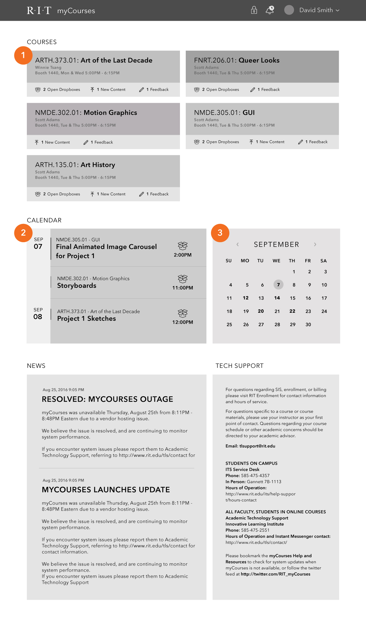 myCourses-Wireframes-Home